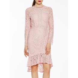 Round Neck Mid-Calf Mermaid Lace Dress