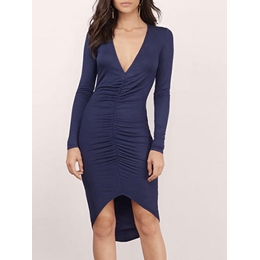 Shoespie V-Neck Asymmetric Long Sleeve Bodycon Dress