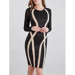 Shoespie Round Neck Geometric Long Sleeve Bodycon Dress