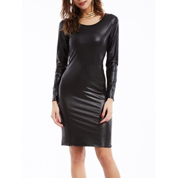 Plain Round Neck Backless Sheath Long Sleeve Bodycon Dress