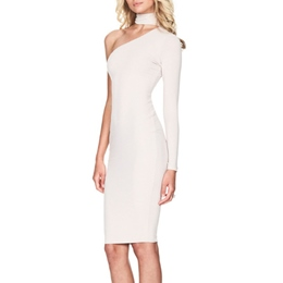 Turtleneck One-Shoulder Long Sleeve Bodycon Dress