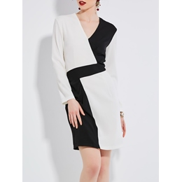 Color Block V-Neck Bodycon Dress