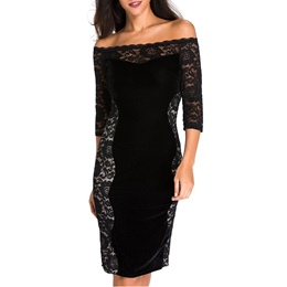Shoespie Floral Hollow Lace Slash Neck Bodycon Dress