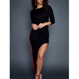 Shoespie Slash Neck Asymmetric Three-Quarter Sleeve Bodycon Dress