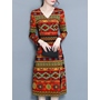 Shoespie V-Neck Floral Lace-Up Print Long Sleeve Bodycon Dress