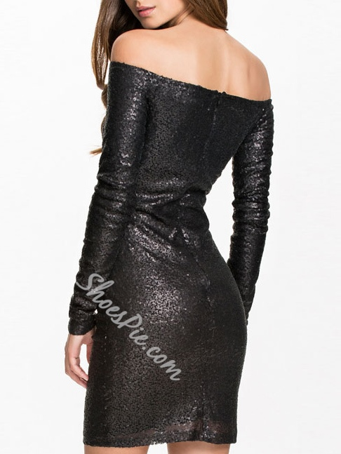 Shoespie Slash Neck Sequins Long Sleeve Bodycon Dress