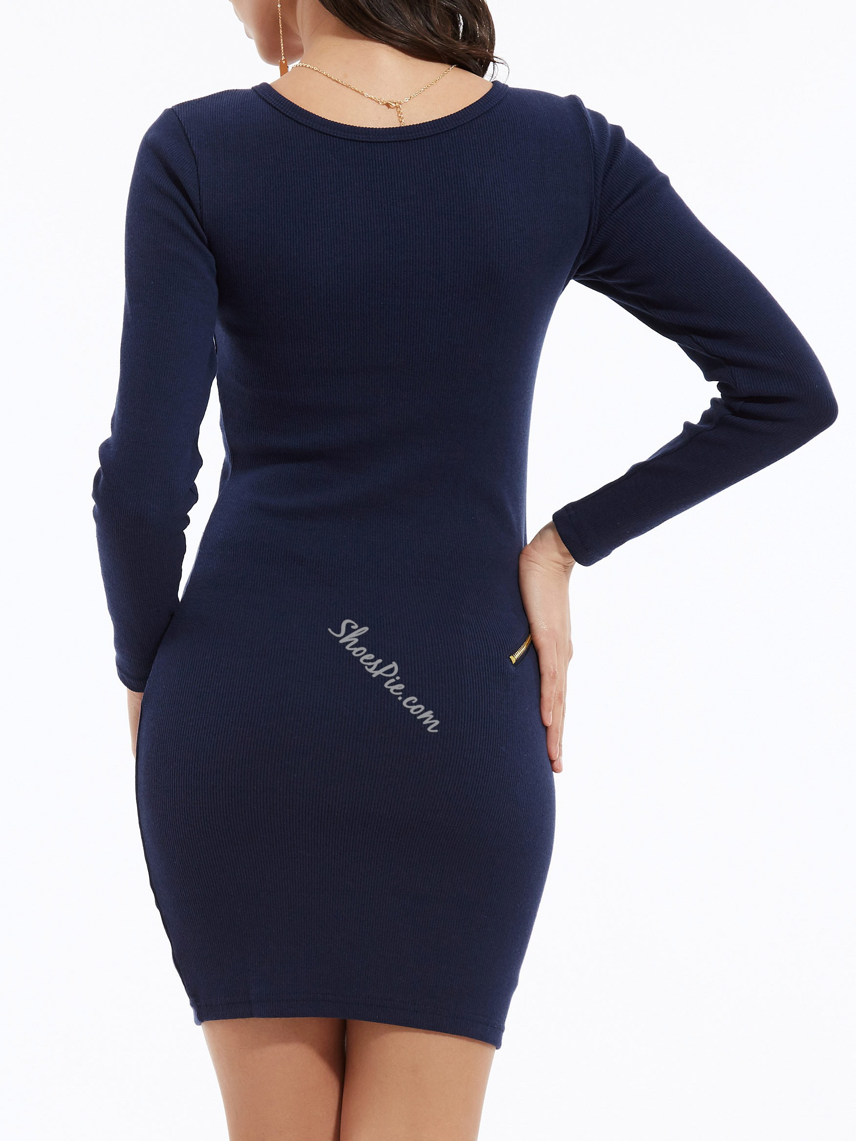 Shoespie Plain V-Neck Zipper Bodycon Dress