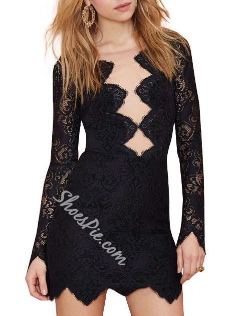 Shoespie Mesh Lace High-Waist Long Sleeve Bodycon Dress