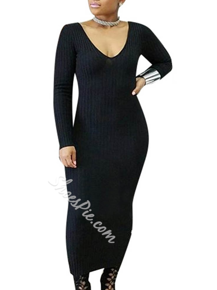 Shoespie Backless Ankle-Length V-Neck Long Sleeve Bodycon Dress