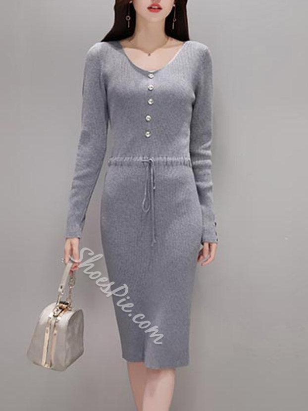 Shoespie V-Neck Lace-Up Button Long Sleeve Bodycon Dress