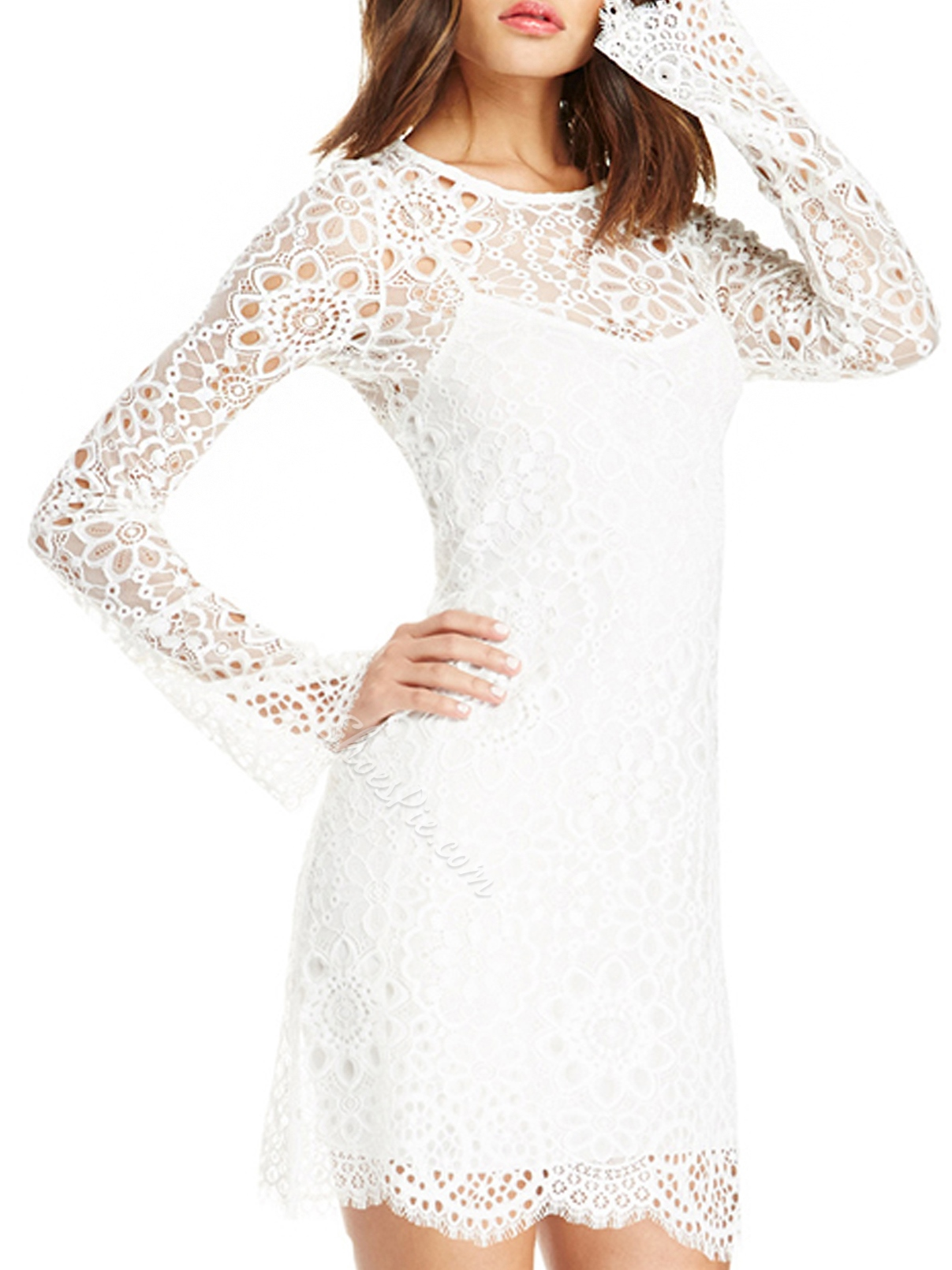 Shoespie Sheath Lace Long Sleeve Bodycon Dress