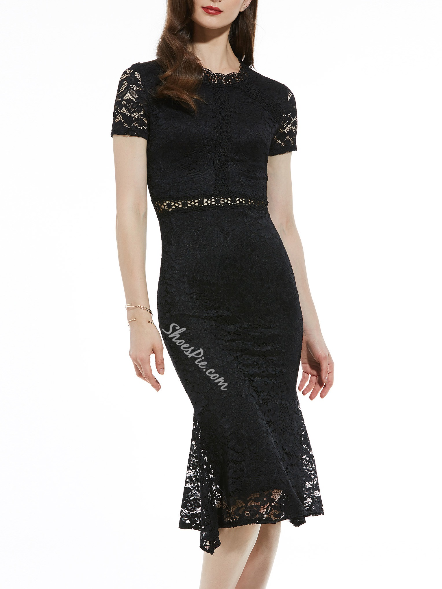 Mid-Calf Round Neck Hollow Women's Lace Dress