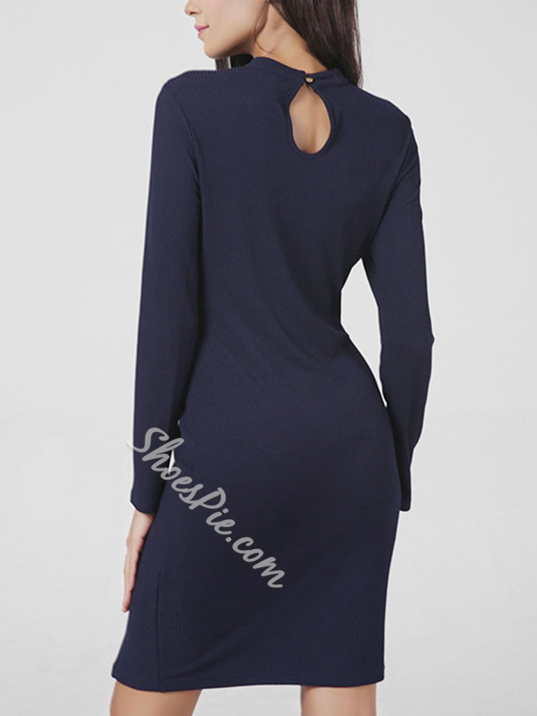 ShoespieAbove Knee Hollow Long Sleeve Bodycon Dress