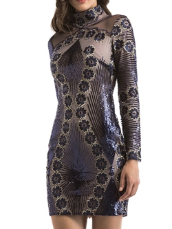 Shoespie See-Through Embroidery Sequins Bodycon Dresses