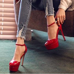 Shoespie Red Patent Ankle Wrap Platform Heels