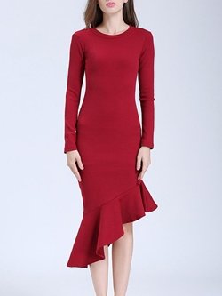 Shoespie Asymmetric Falbala Long Sleeve Bodycon Dresses