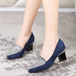Shoespie Suede Rhinestone Low Heels