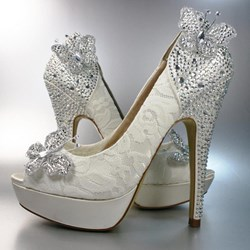 Fashion Beading Butterfly High Heel Peep-Toe Wedding Shoes
