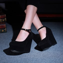 Shoespie Black Nubuck Ankle Wrap Wedge Heels