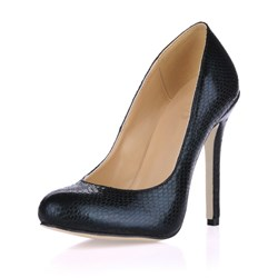 Black PU Pointed-toe Heels