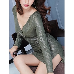 Shoespie V-Neck Long Sleeve Bodycon Dresses