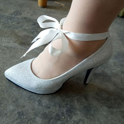 Shoespie Elegant Ribbon Knot Stiletto Bridal Shoes