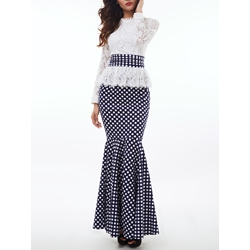 Shoespie Lace Patchwork Polka Dots Mermaid Dress