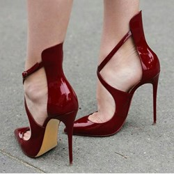Shoespie Pointed Cross Strap Metal Buckles Stiletto Heels