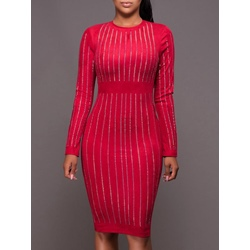 Shoespie Round Neck Stripe Long Sleeve Bodycon Dresses