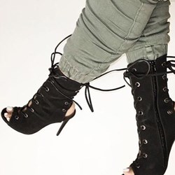 Shoespie Black Lace Up Sandal Booties