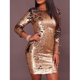 Shoespie Backless Sequins Nine Points Sleeve Bodycon Dresses
