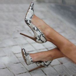 Shoespie Gray Snake Effect High Stiletto Heels