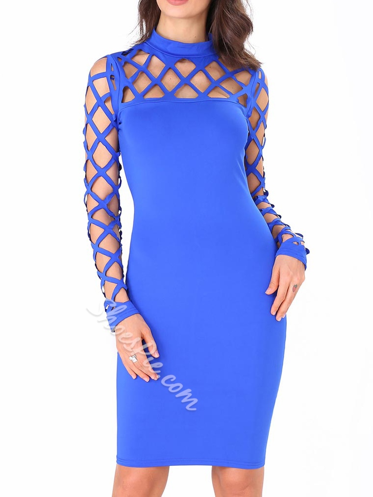 Shoespipe Hollow Stand Collar Bodycon Dresses