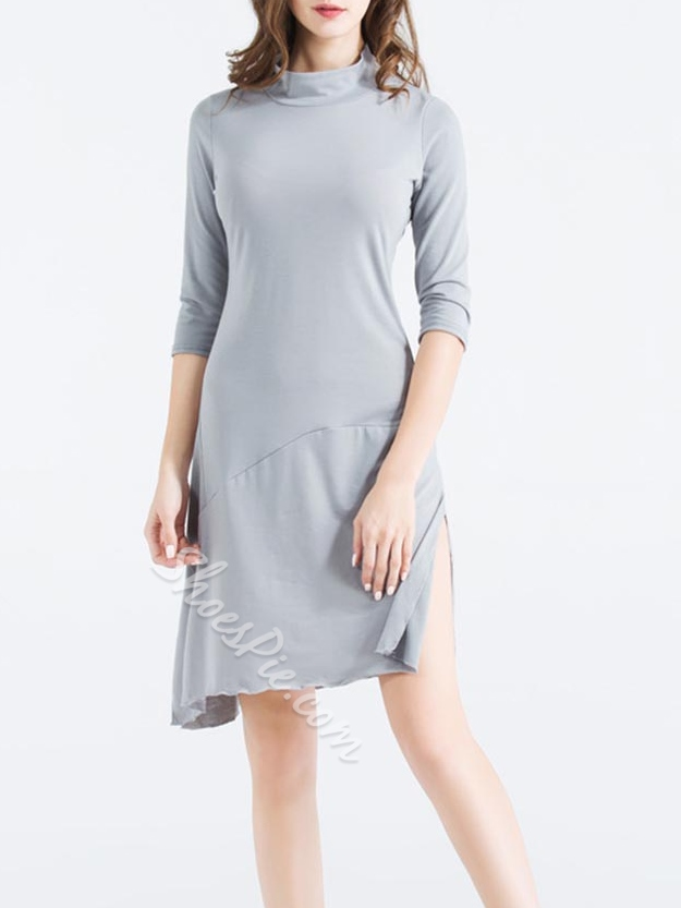 Shoespie Asymmetric Stand Collar Three-Quarter Sleeve Bodycon Dresses