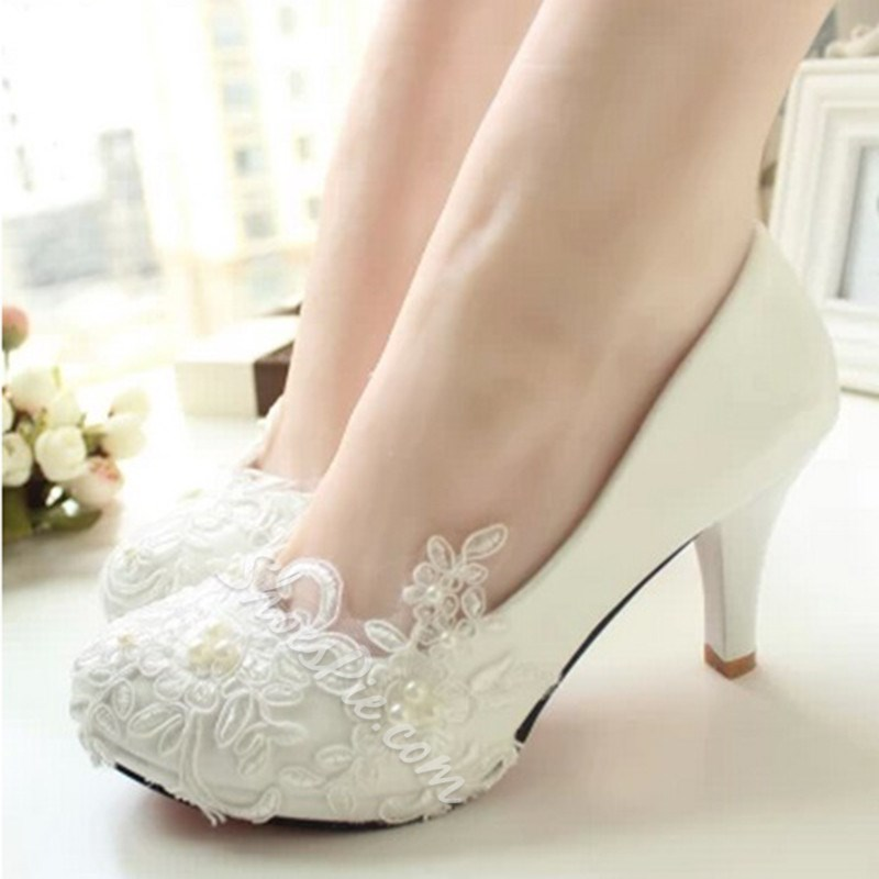 Elagant Lace Flower High Heel Bridal Shoes- Shoespie.com