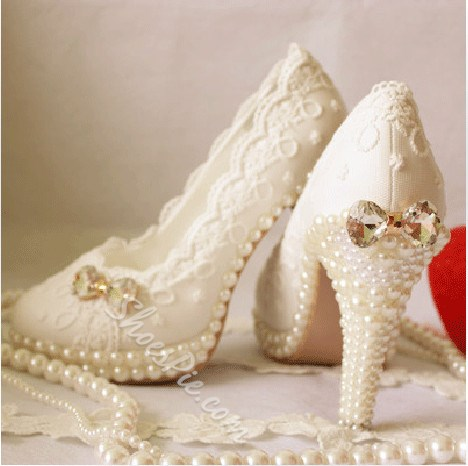 New Arrival Elegant White Pearl High Heel Wedding Shoes