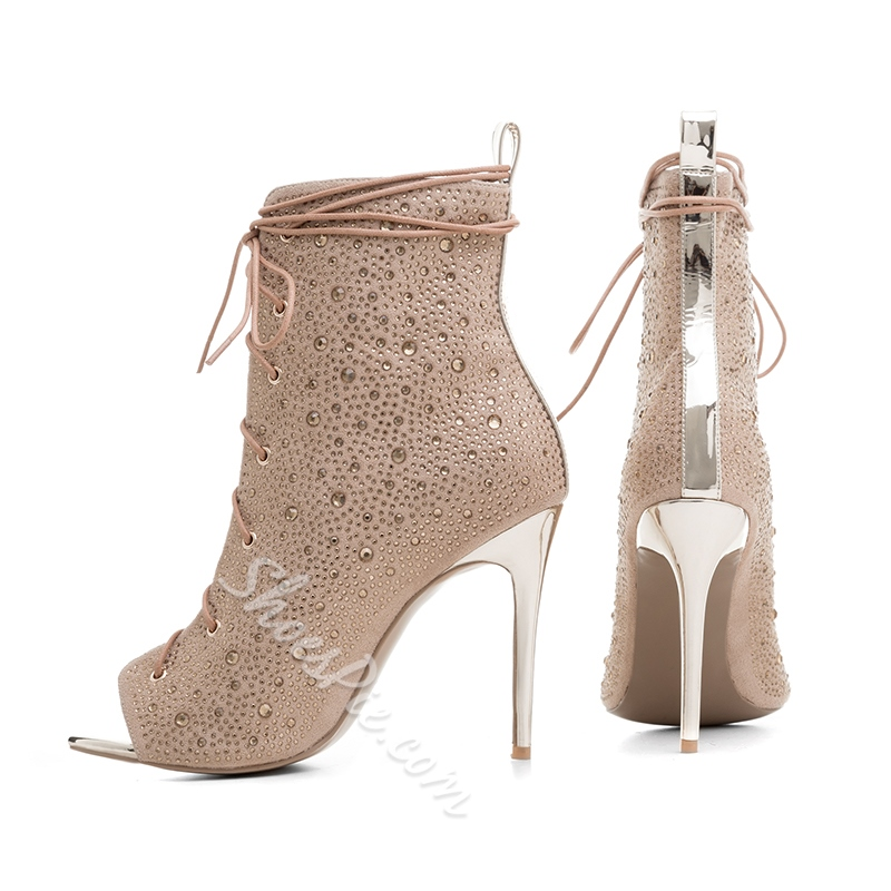 Shoespie Peep-toe Lace-up Rhinestone Stiletto Heels