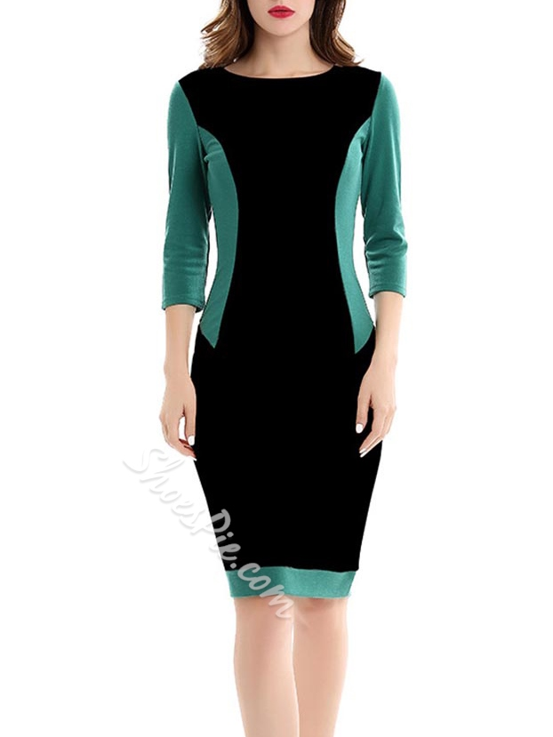 Shoespie Color Block Three-Quarter Sleeve Bodycon Dresses