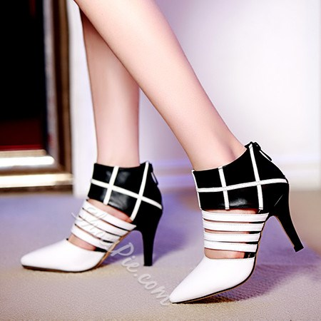 Shoespie Cut-outs Back Zipper Pointed-toe Stiletto Heels