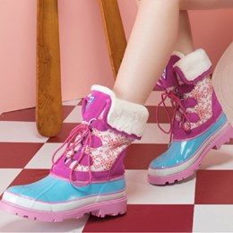 Lace-Up Front Color Block Block Heel Duck Boots
