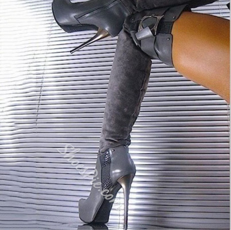 Shoespie Fashion Gray OL Style Thigh High Boots