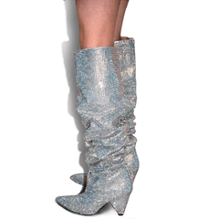 Sexy Sparkling Rhinestone Shaped Heel Knee High Boots