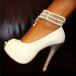 White Pearl Ankle Strap High Stiletto Heels