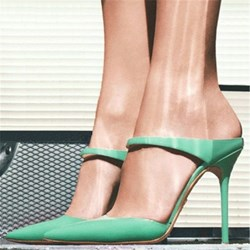 Shoespie Graceful Green Heels Point-toe Dress Sandals