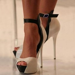 Shoespie Nude Peep Toe Ankle Strap Stiletto Heel Sandals shoespie