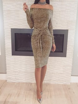 Slash Neck Lace-Up Long Sleeve Bodycon Dresses