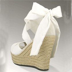 Comfortable Wedge Heel Lace-Up Bowtie Sandals