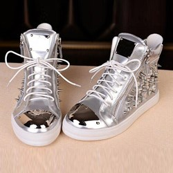 Shoespie Silver Rivet Lace-Up Men's Sneakers