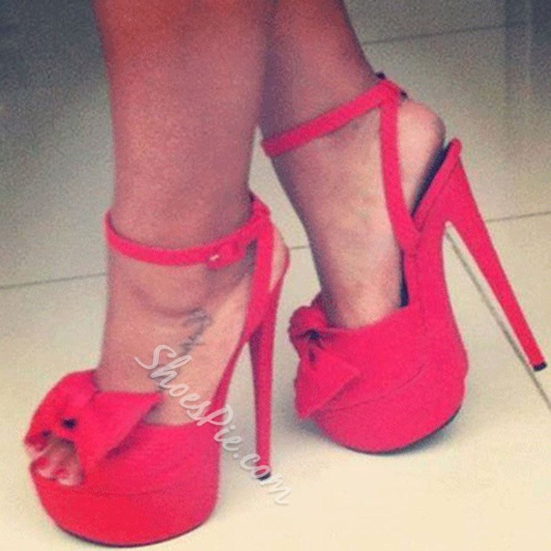 Gorgeous Red Suede Amazing Rhinestone Ankle Strap High Heel Shoes