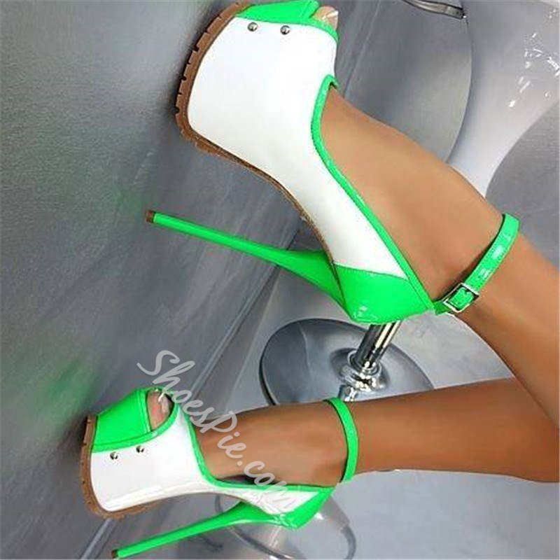 Shoespie Remarkable Contrast Color Coppy Leather Platform Sandals